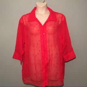 18W /20W WHITE STAG Red SHEER BLOUSE
